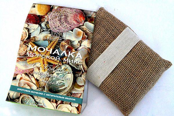 Мочалка с натуральным мылом: «Джутовая мочалка «Морской Микс»