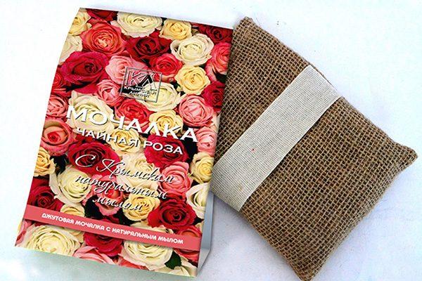 Мочалка с натуральным мылом: «Джутовая мочалка «Чайная роза»