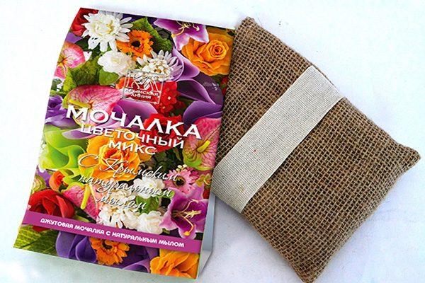 Мочалка с натуральным мылом: «Джутовая мочалка «Цветочный Микс»»